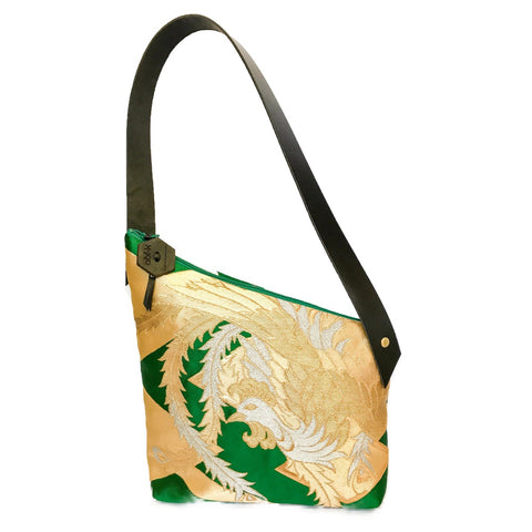 Kimono Silk Shoulder Bag 'Regal Green Gold'