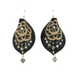 Decadent-Edge Earrings 'Lace Black with Crystal'