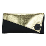 Metallic Monochrome Asymmetric Clutch Bag 'Gold'