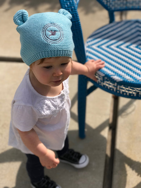 Embroidered Knit Circle Bird Baby Beanie
