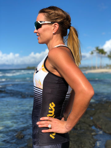GOLD Tri Top with Built-in Bra