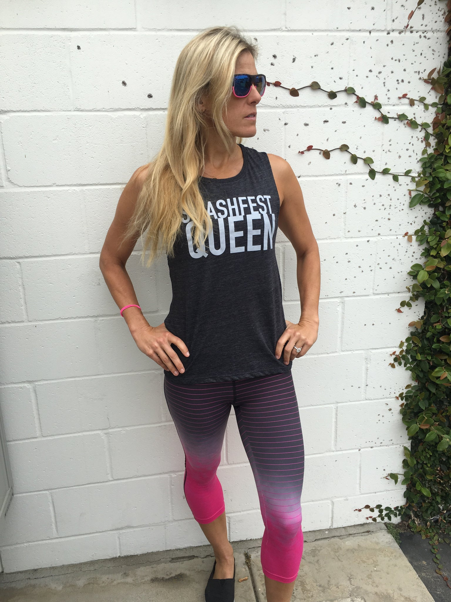 Smashfest Queen Muscle Tank- Charcoal
