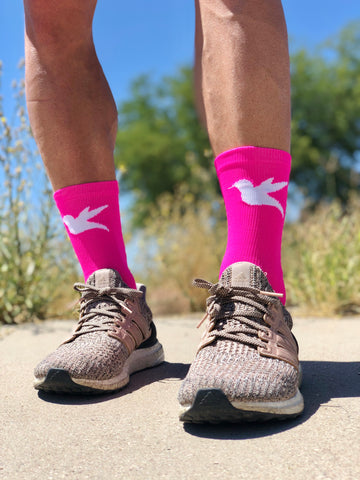 "7"" Hummingbird Run & Cycling Sock in Fluoro Pink & White"