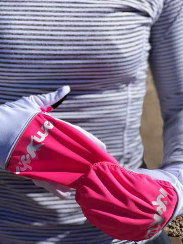 Converter Gloves in White & Fluro Pink