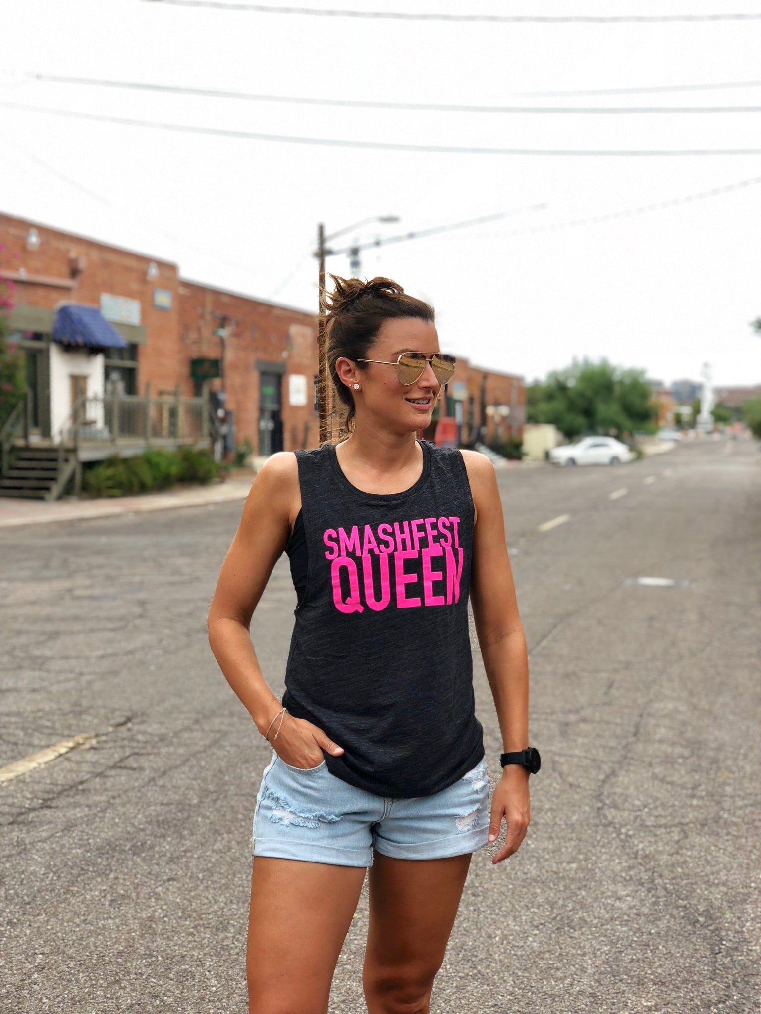 Smashfest Queen Muscle Tank - Charcoal with Fluro Pink