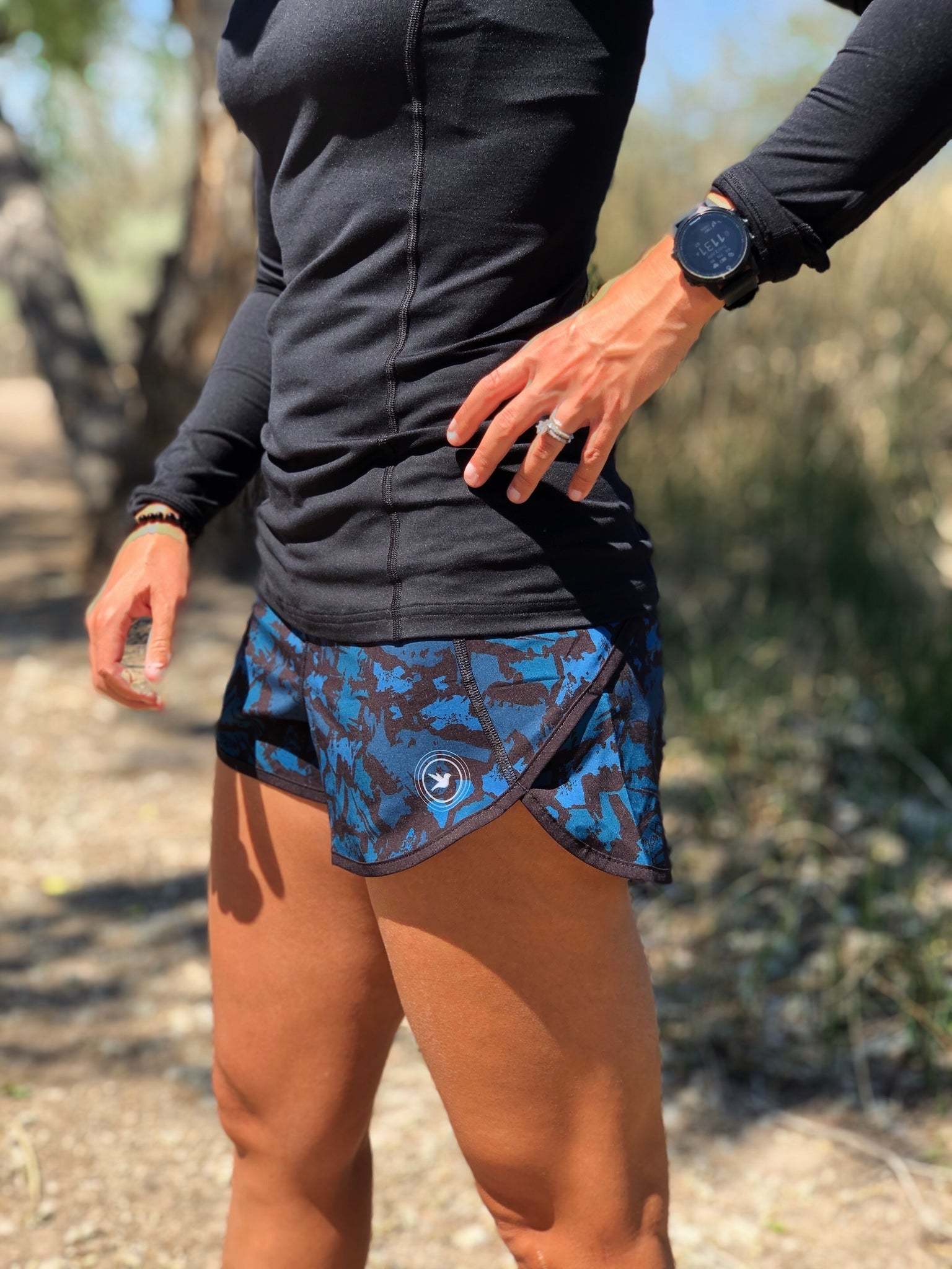 Blue Abstract Run Short