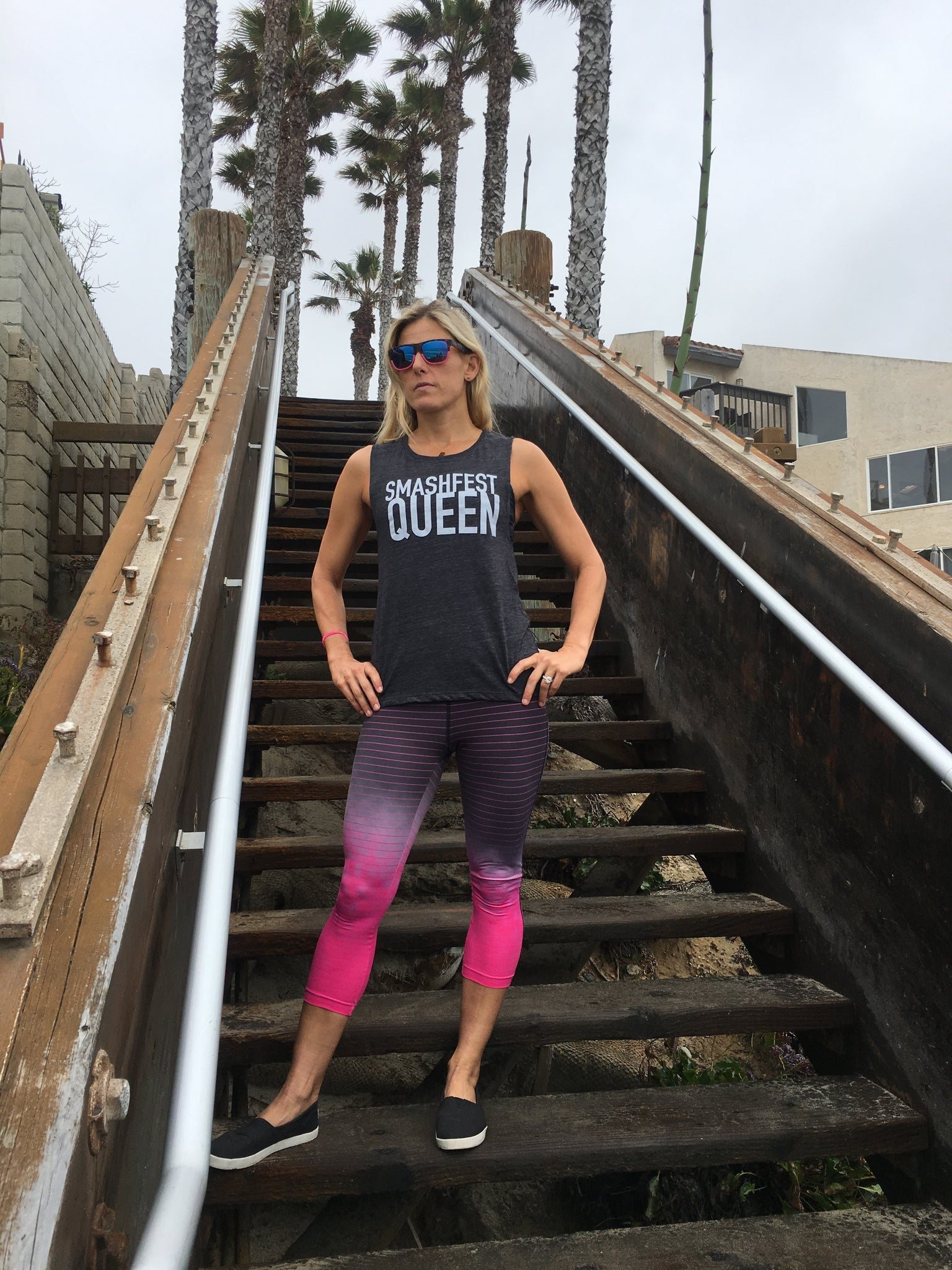 Smashfest Queen Muscle Tank- Charcoal *FINAL SALE*