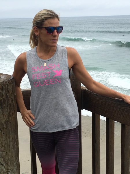Smashfest Queen Muscle Tank - Grey Heather with Pink