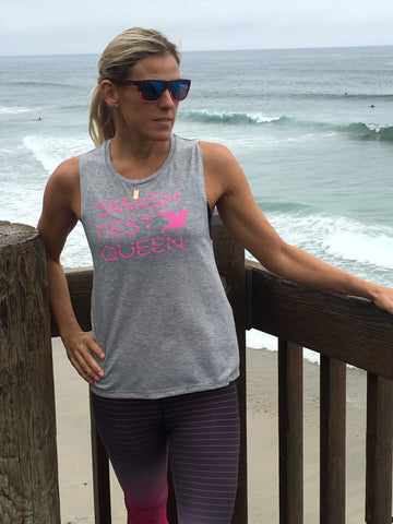 Smashfest Queen Muscle Tank - Grey Heather with Pink *FINAL SALE*
