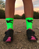 "SMASH 5"" Cycling & Running Socks in Fluro Green"