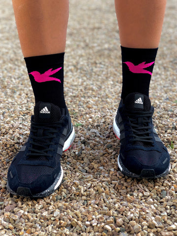 "5"" Hummingbird Run & Cycling Sock in Black & Magenta"