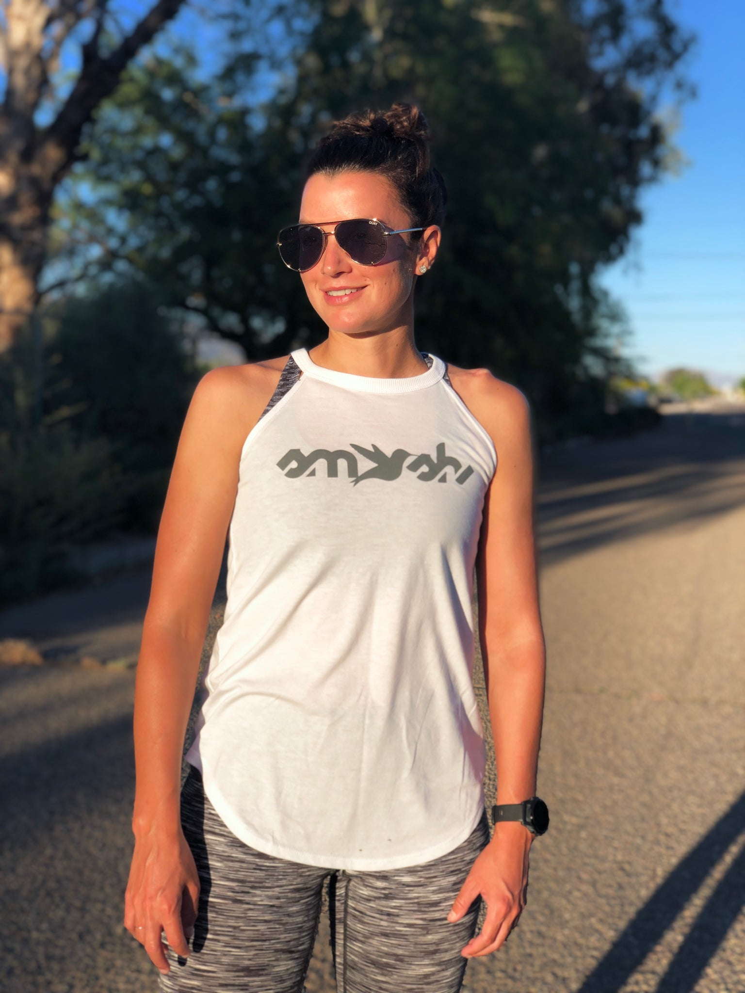 Smash High Neck Tank in White & Charcoal