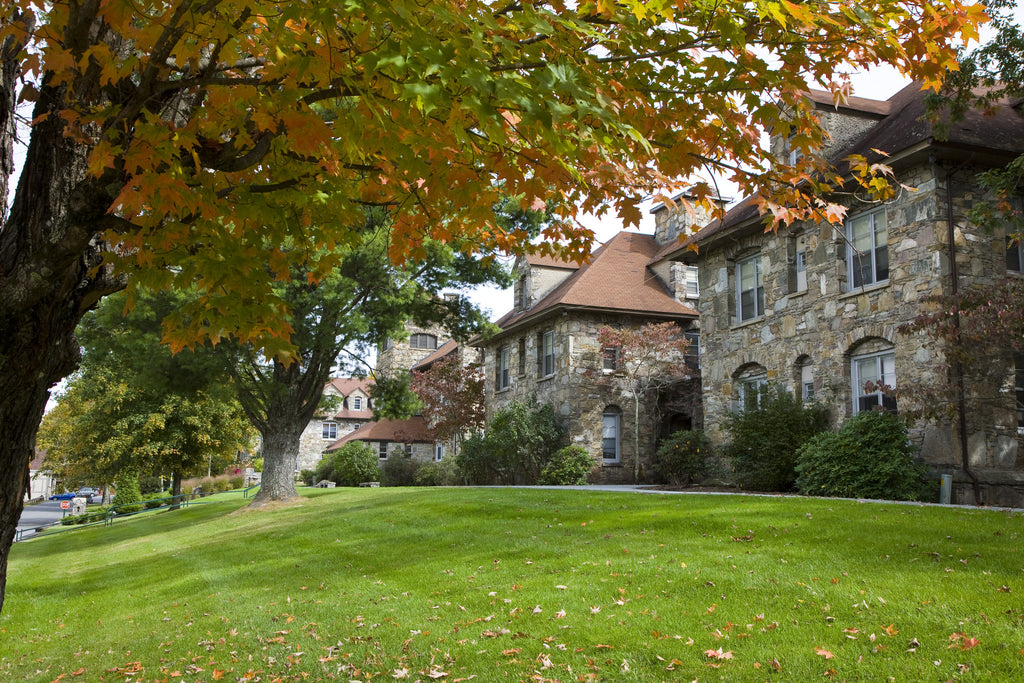 Lees-McRae College stone buildings in fall