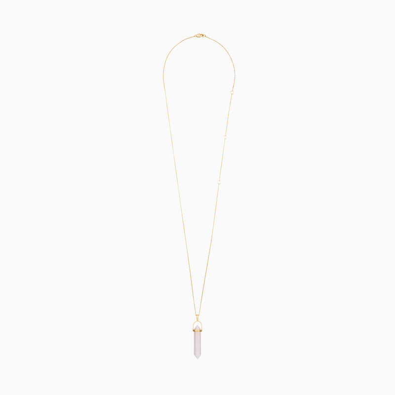 Rose Quartz Crystal Necklace - TSUKI.CO