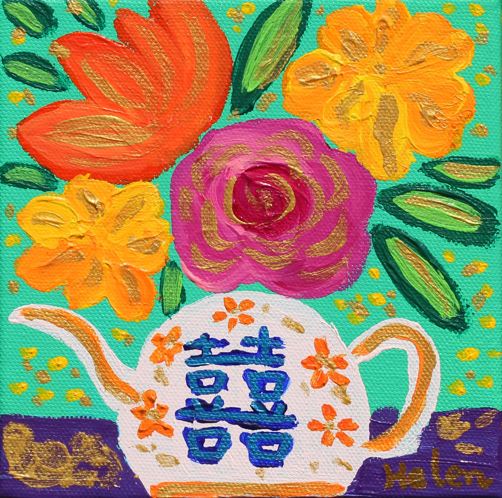 vibrant and colorful flower paintings in a tea pot