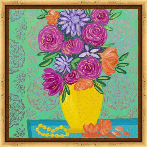 Vibrant and colorful flower bouquet in a yellow vase acrylic painting with metallic mandala background