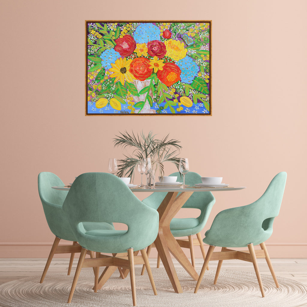 Exuberant vibrant colorful flower bouquet acrylic painting