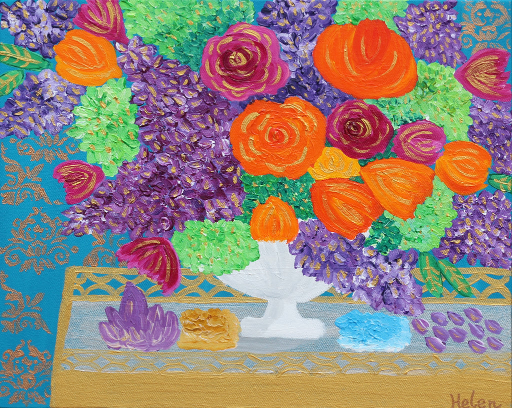 colorful and vibrant flower bouquet in a golden tray with crystal rocks acrylic painting in a blue background