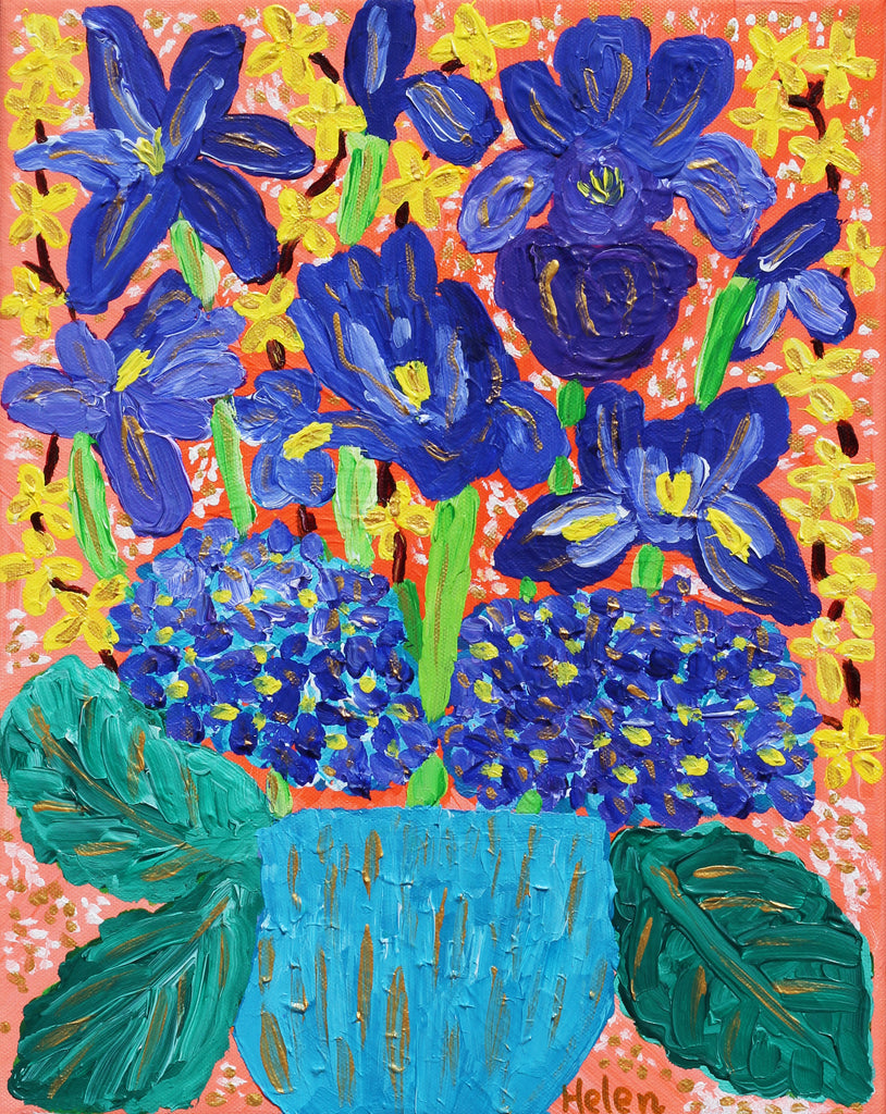 Blue violet iris and hydrangea bouquet acrylic painting with orange background