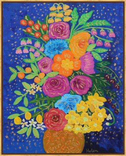 Vibrant and colorful flower bouquet in a  vase acrylic painting with a blue background