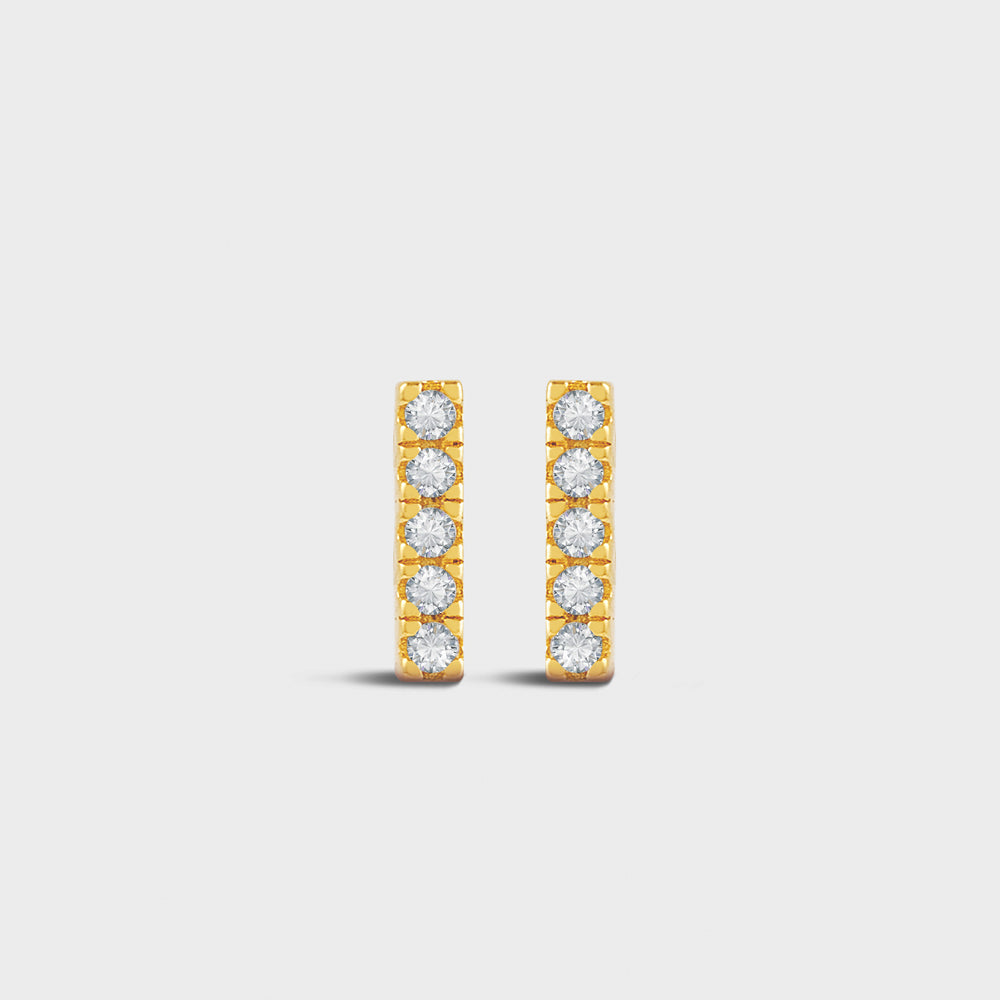 10mm Pave Clear CZ Bar Studs