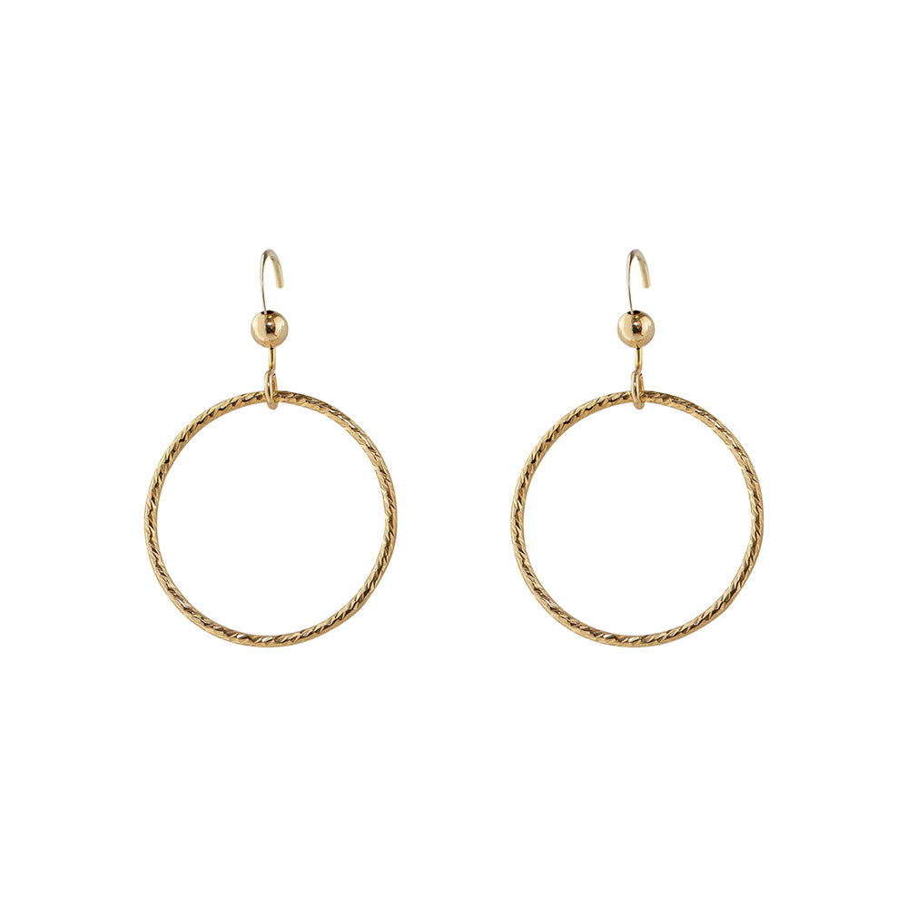 Diamond Cut Thin Circle Hoop Earrings
