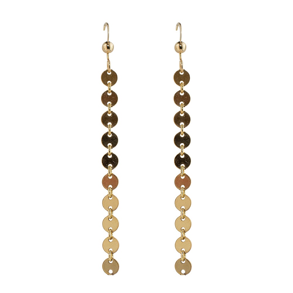 Mutli Tiny Disc Long Drop Earrings