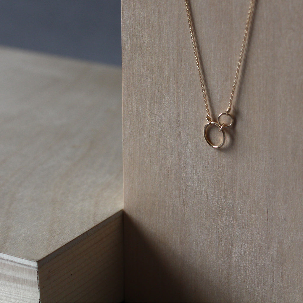 Offset Interlock Circles Necklace