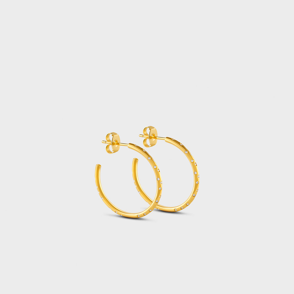 Small Scattered Constellation Pave CZ Hoop Post Studs Earrings