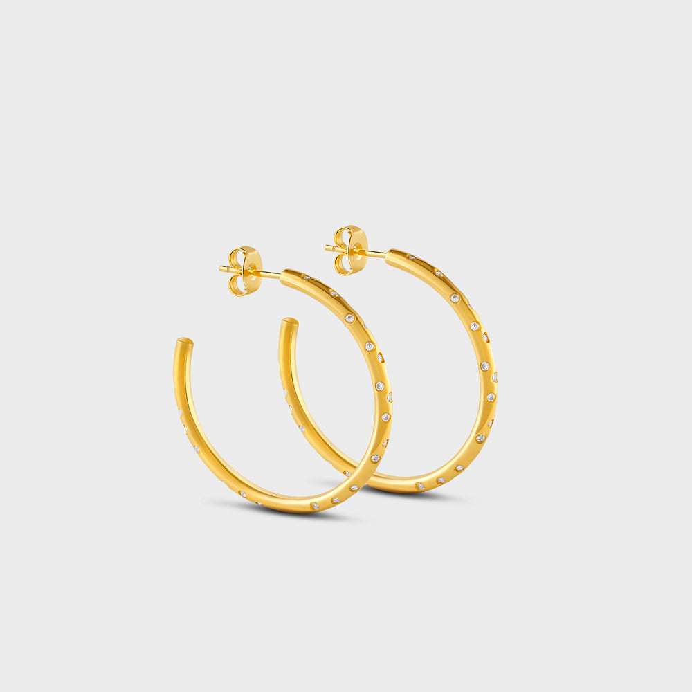 Medium Scattered Constellation Pave CZ Hoop Post Studs Earrings