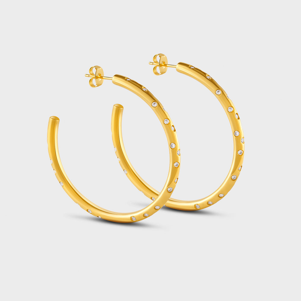 Large Scattered Constellation Pave CZ Hoop Post Studs Earrings