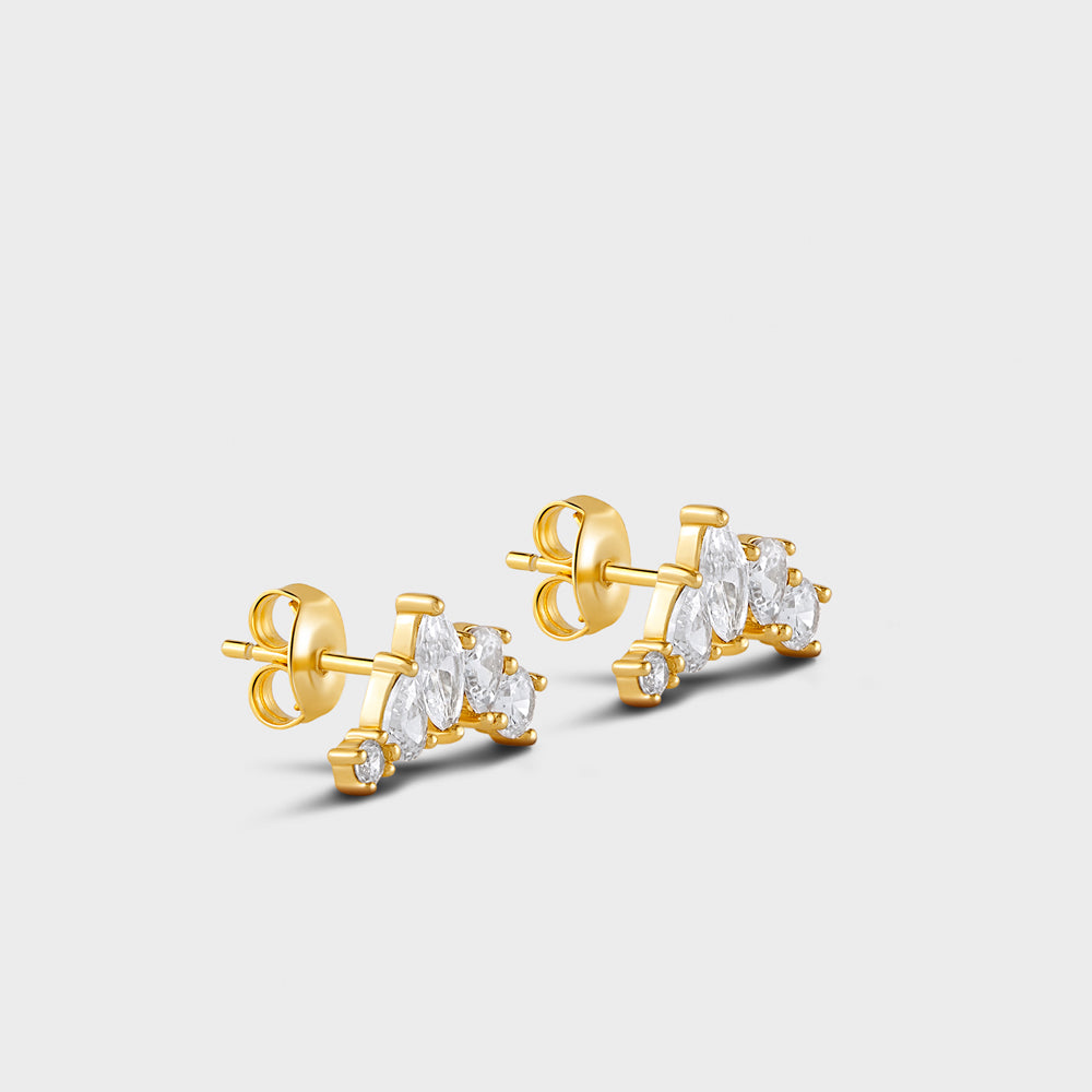 Multi Shapes CZ Cluster Stud Earrings