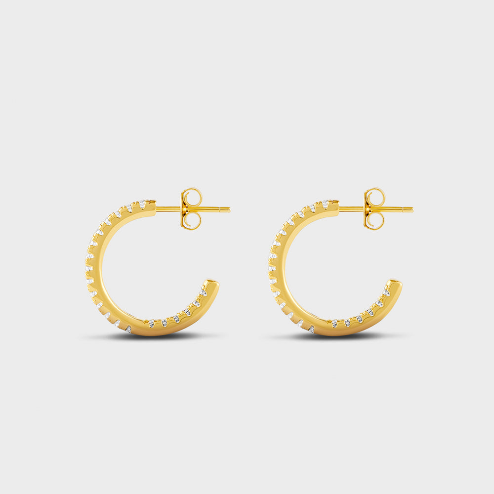 Small Pave CZ Hoop Post Studs