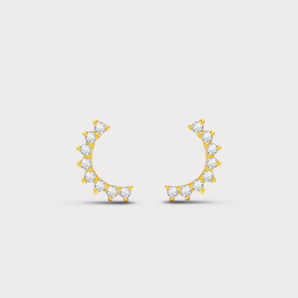 Scalloped Edge CZ Arc Stud Earrings