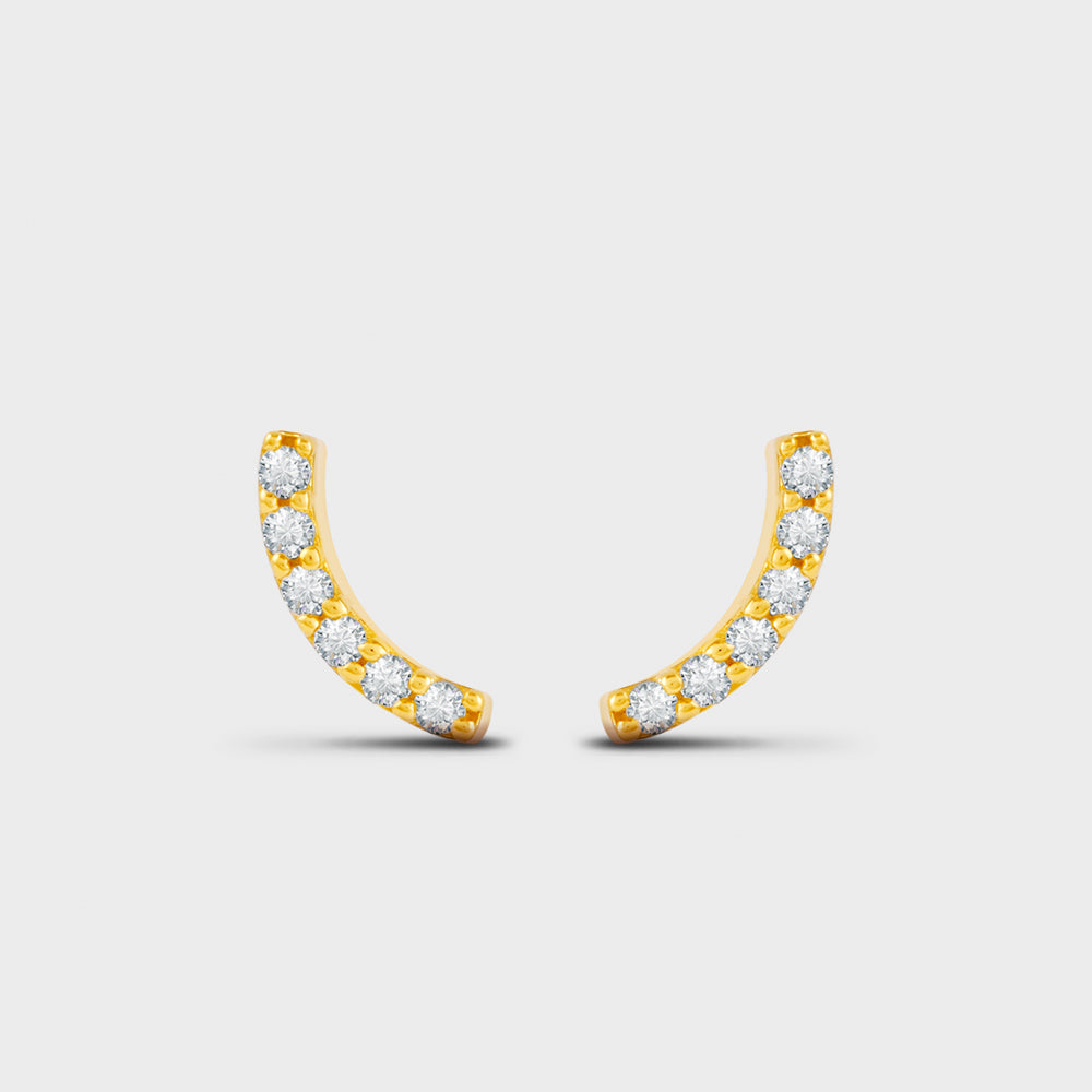Pave CZ Curved Bar Stud Earrings