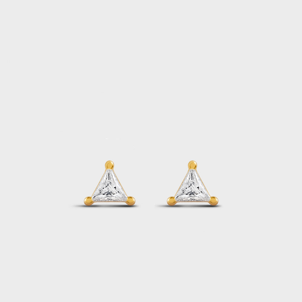 3mm Triangle Clear CZ Prong Studs