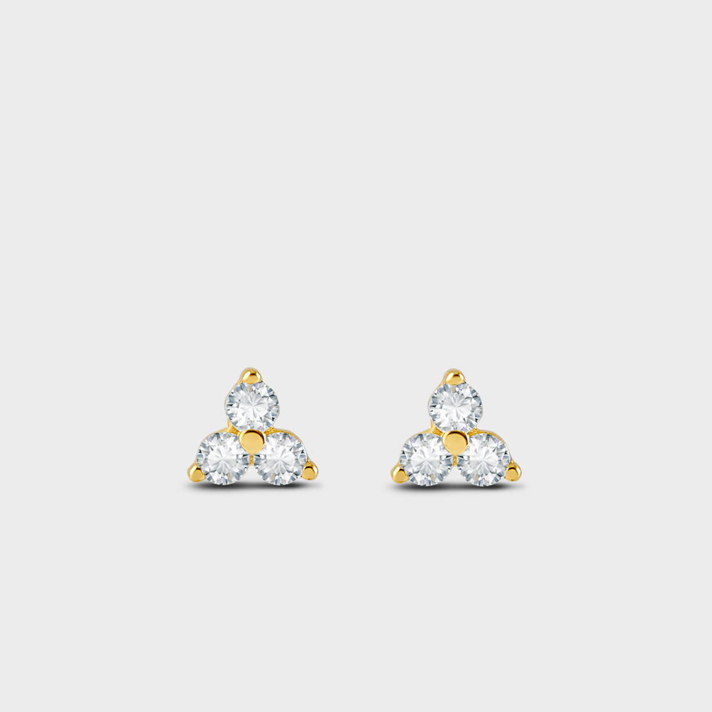 Trio Cluster CZ Stud Earrings