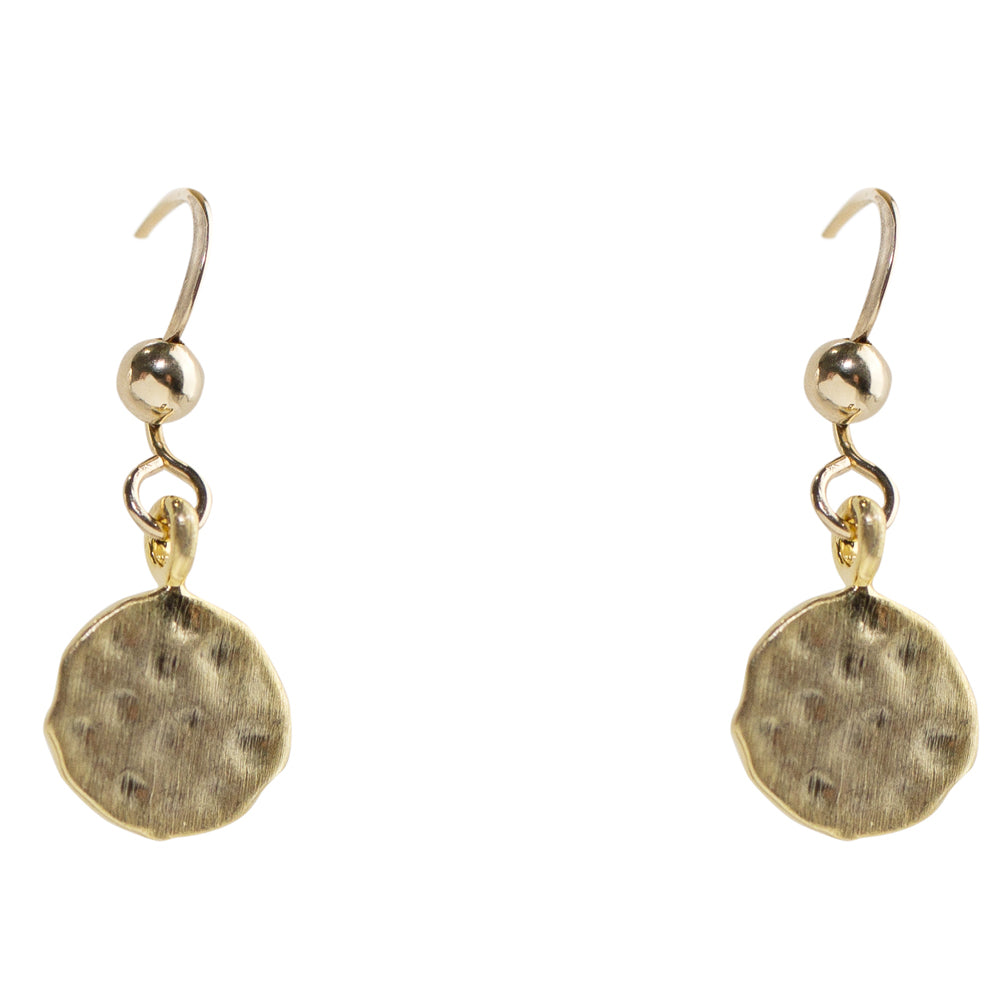 Hammered Disc Drops Earrings