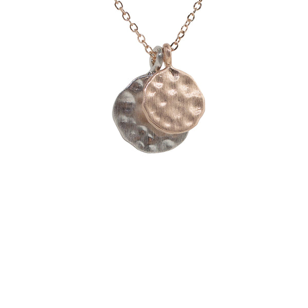 Double Hammered Disc Pendant Necklace