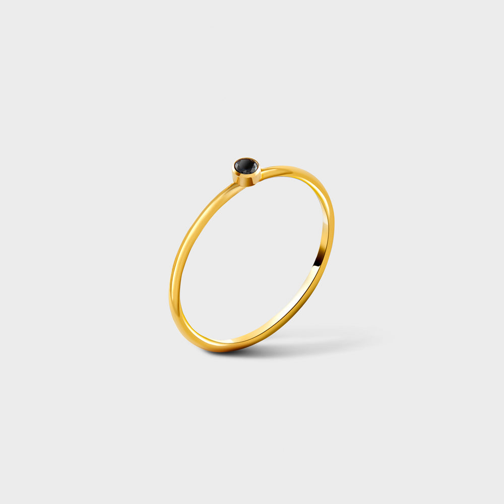 2mm Black CZ Solitaire 14k Gold Filled Ring