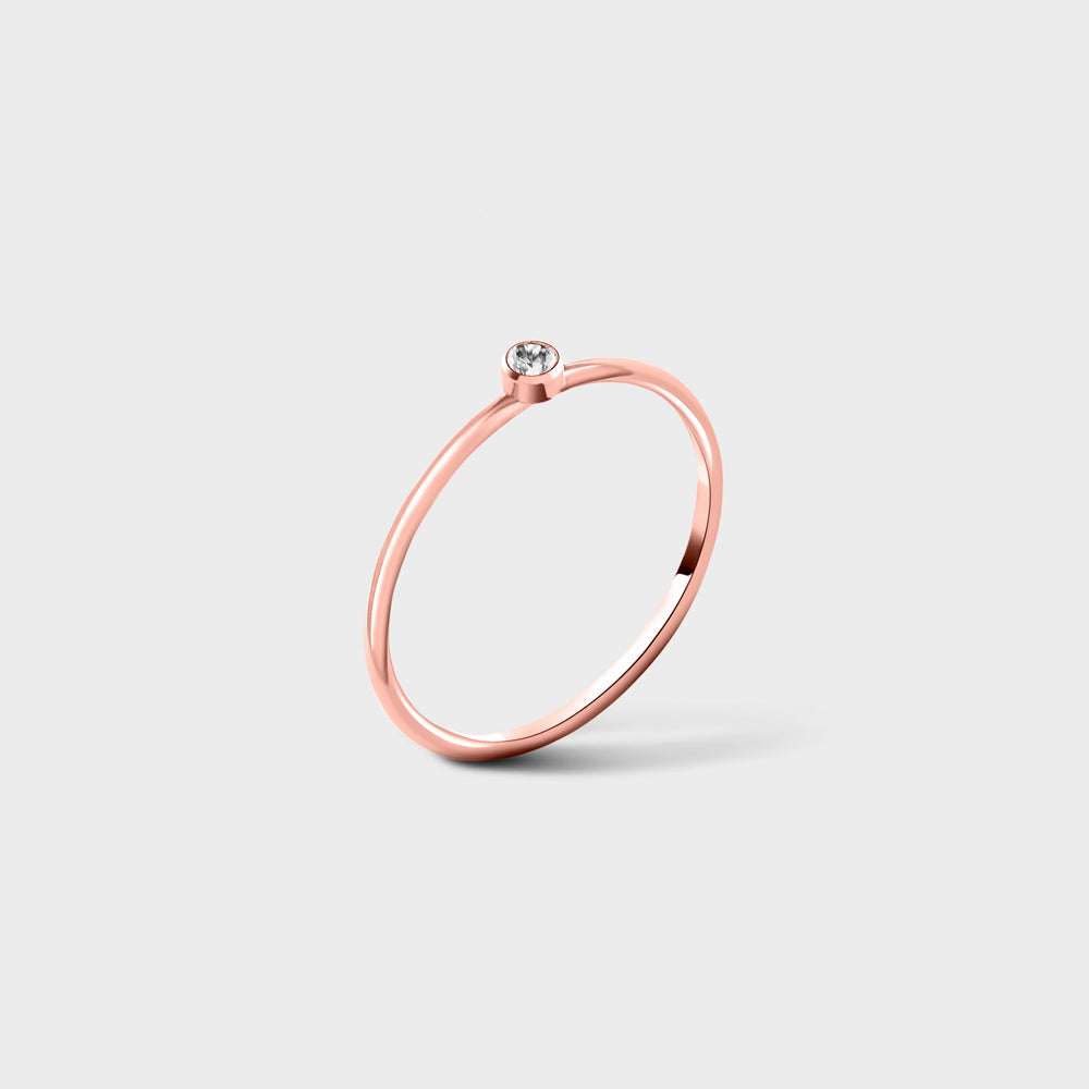 2mm Clear CZ Solitaire 14k Rose Gold Filled Ring