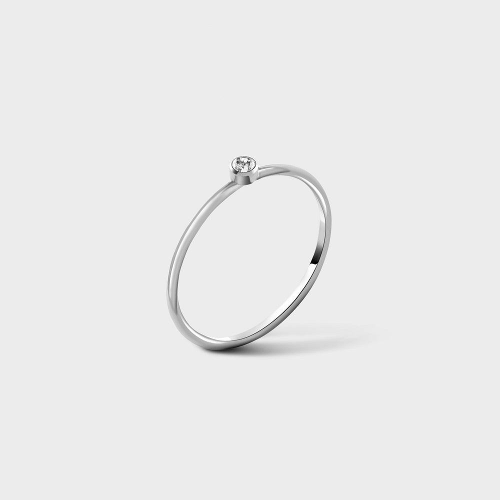 2mm Clear CZ Solitaire Sterling Silver Ring