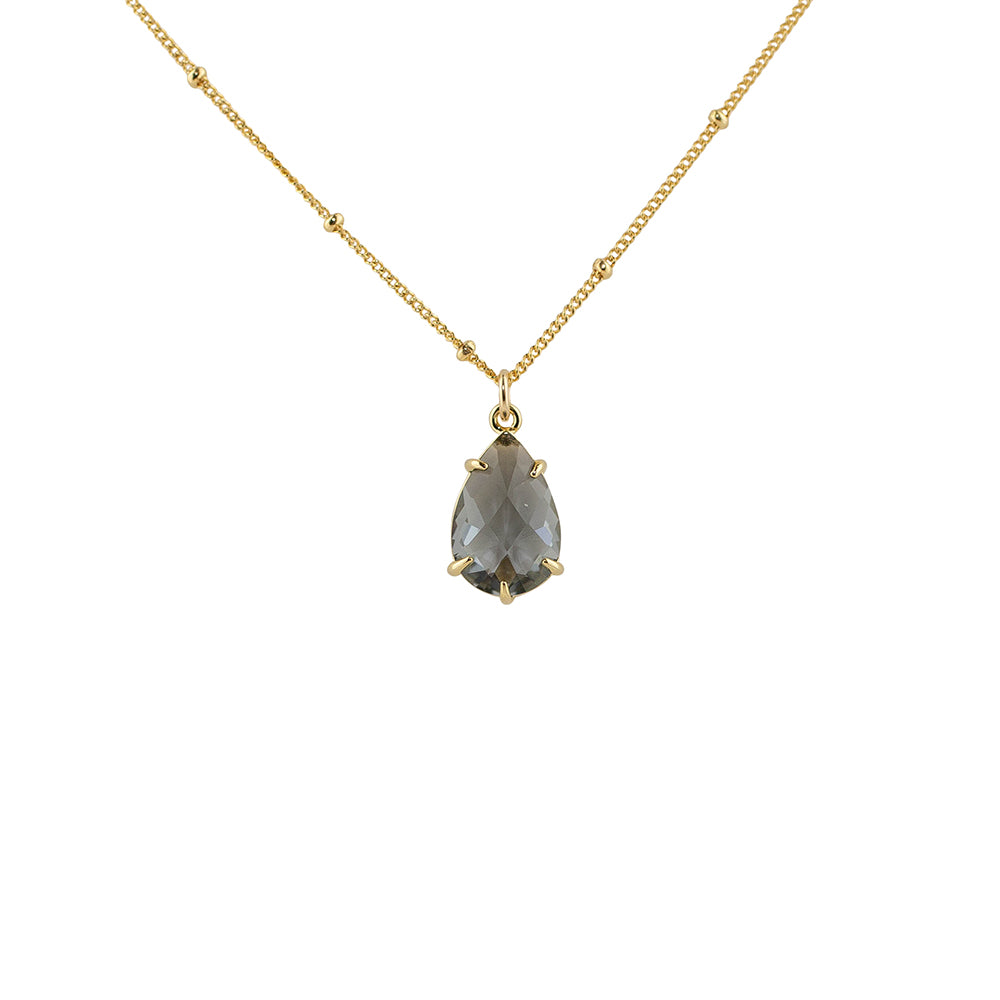 """Smoky Quartz"" Glass Prong Teardrop Pendant Necklace"