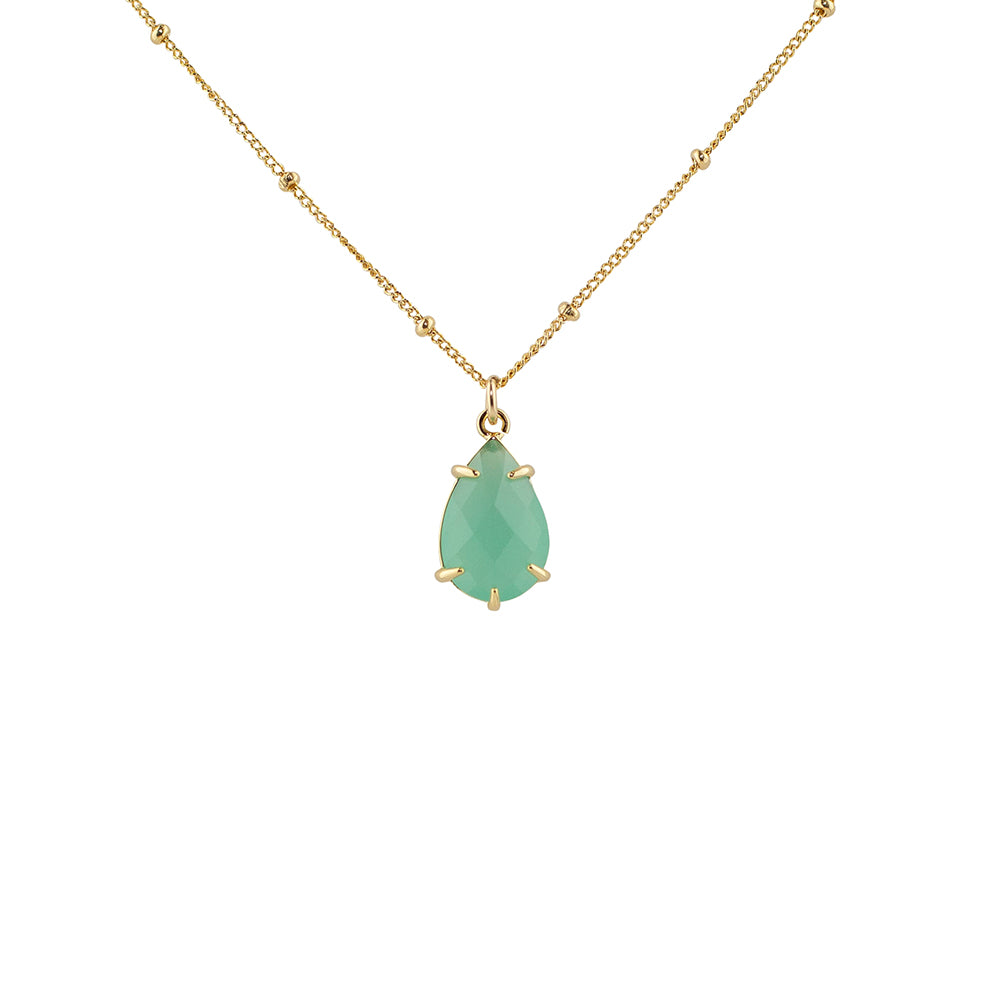 """Green Chalcedony"" Glass Prong Teardrop Pendant Necklace"