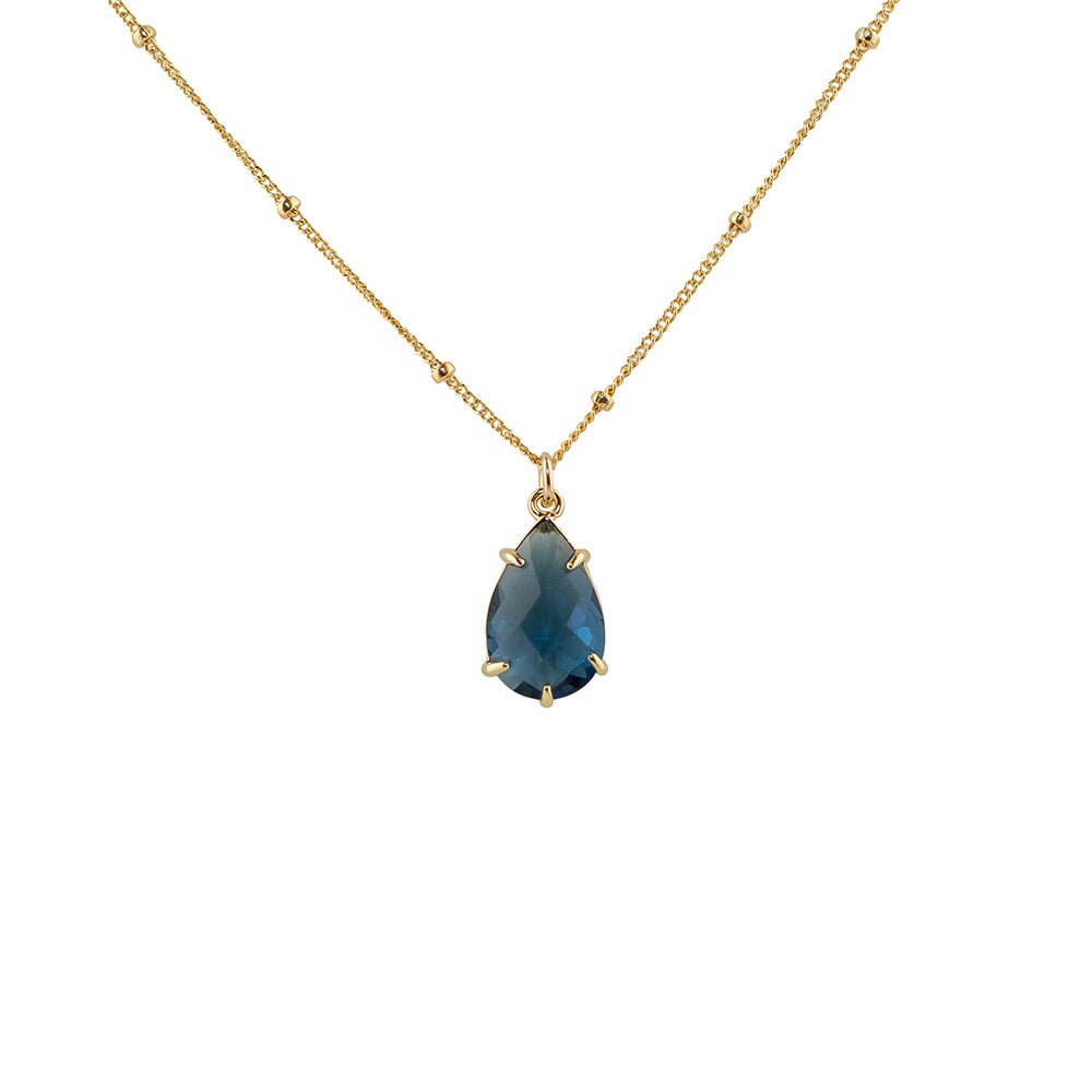 """Montana Blue"" Glass Prong Teardrop Pendant Necklace"