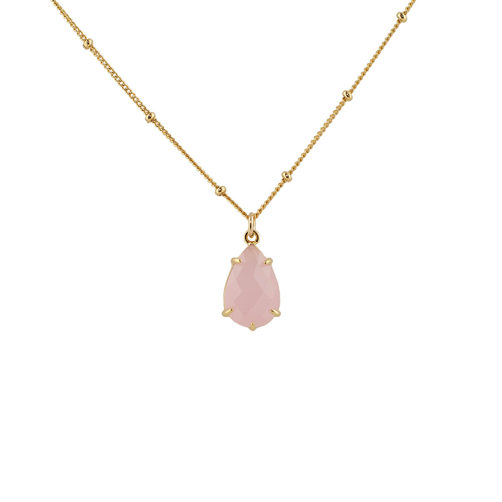 """Rose Quartz"" Glass Prong Teardrop Pendant Necklace"