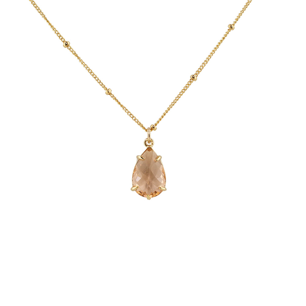 """Morganite"" Glass Prong Teardrop Pendant Necklace"