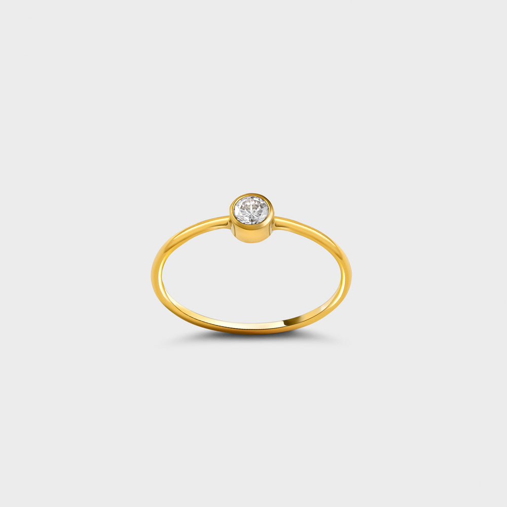 4mm Clear CZ Solitaire 14k Gold Filled Ring