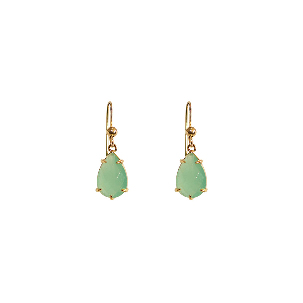 """Green Chalcedony"" Glass Prong Teardrop Earrings"