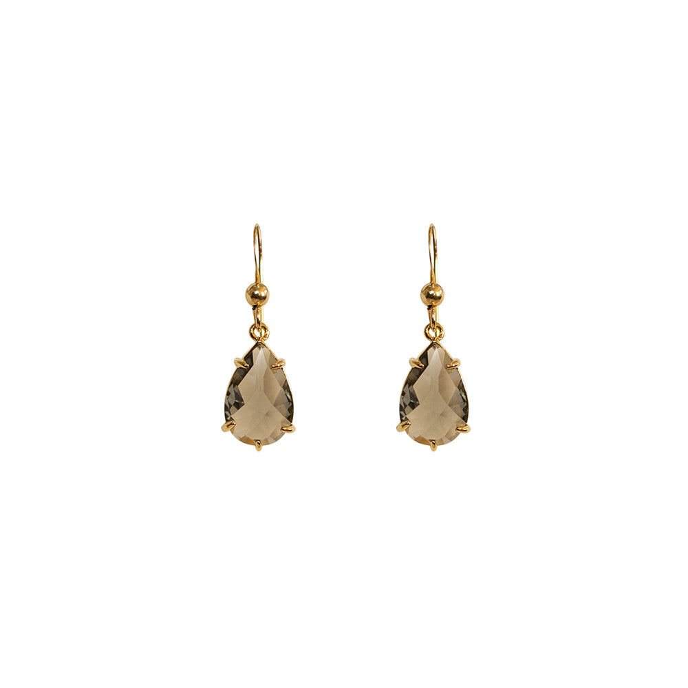 """Smoky Quartz"" Glass Prong Teardrop Earrings"